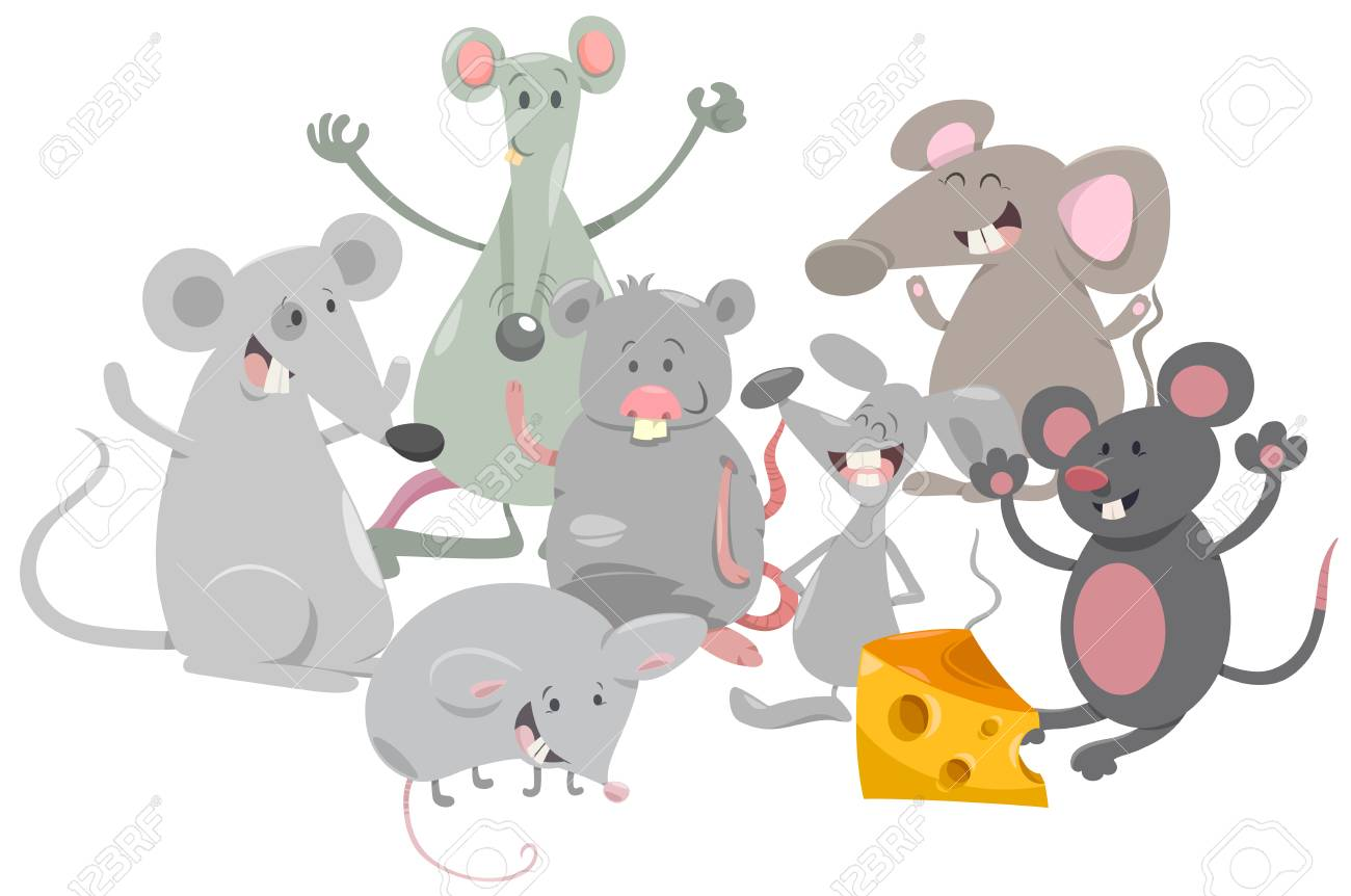 cartoon illustration of happy mice animal characters group royalty