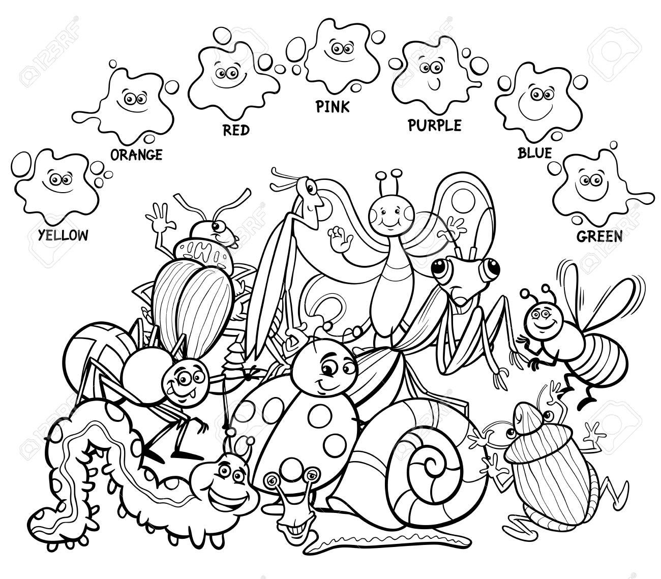 Ilustración De Dibujos Animados En Blanco Y Negro De Colores ...