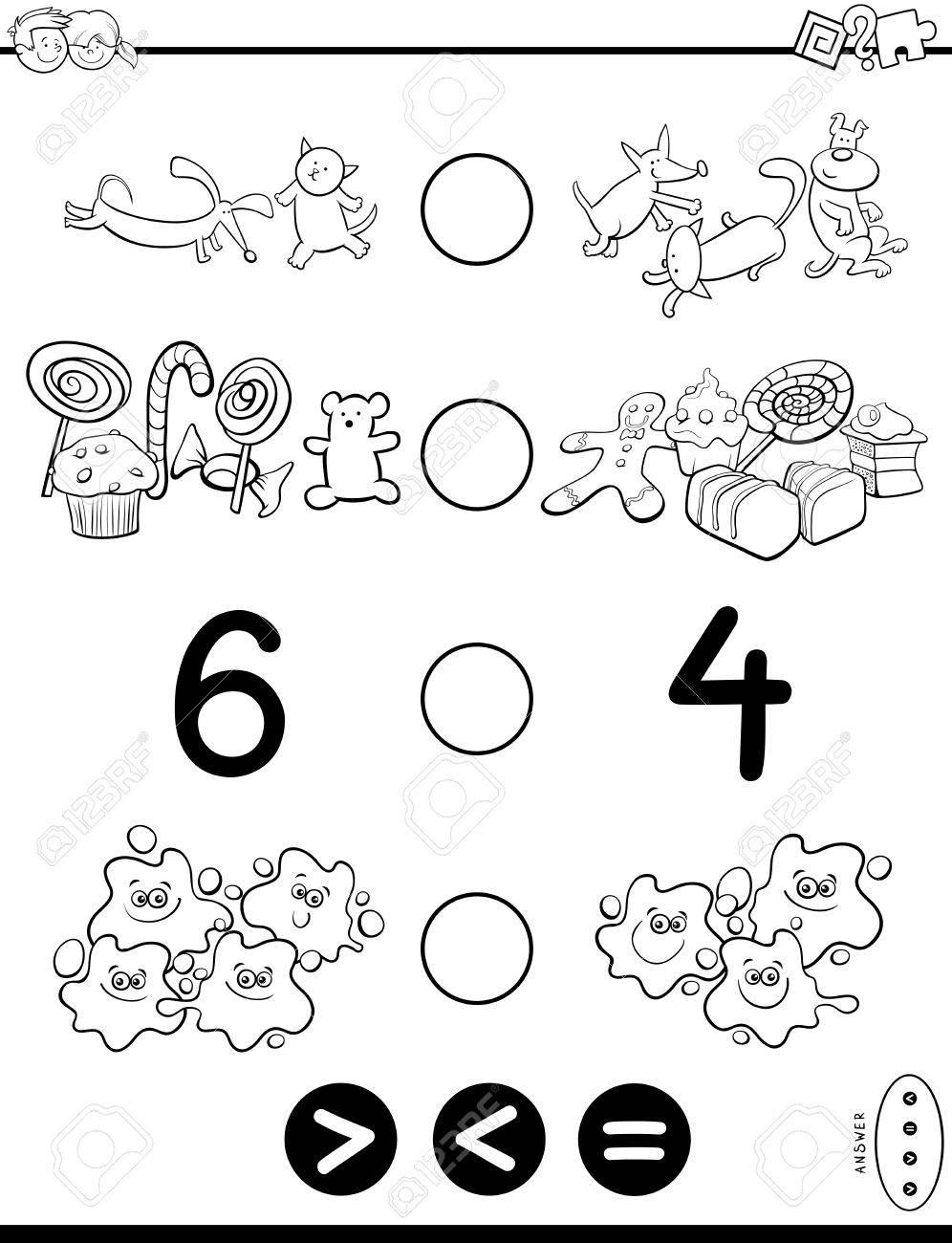 Schwarz-Weiß-Cartoon-Illustration Der Pädagogischen Mathematischen ...