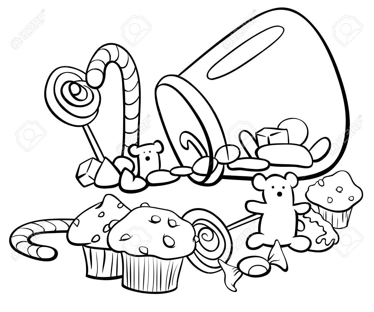 黒と白漫画キャンディやケーキ塗り絵のような甘い食べ物のイラストの