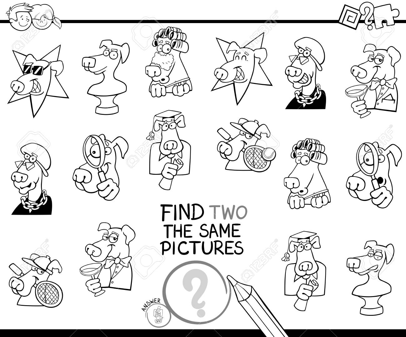 Ilustración De Dibujos Animados En Blanco Y Negro De Encontrar Dos