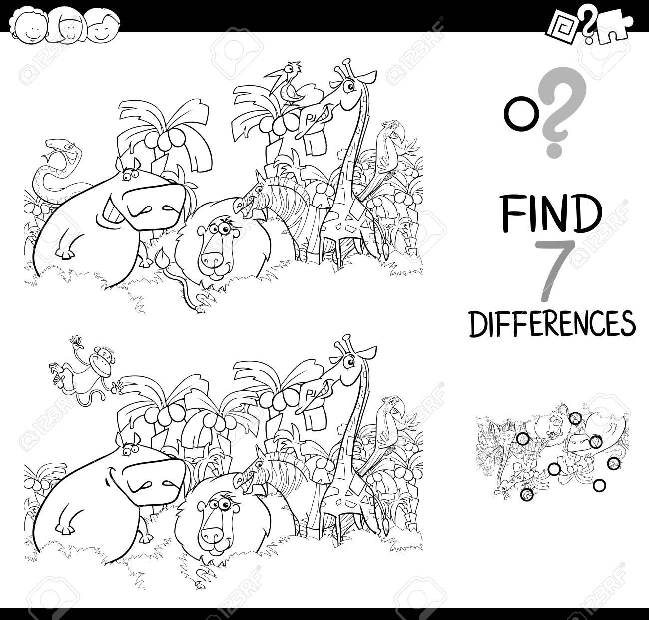 Schwarz-Weiß-Cartoon-Illustration Von Finden Sie Die Unterschiede ...
