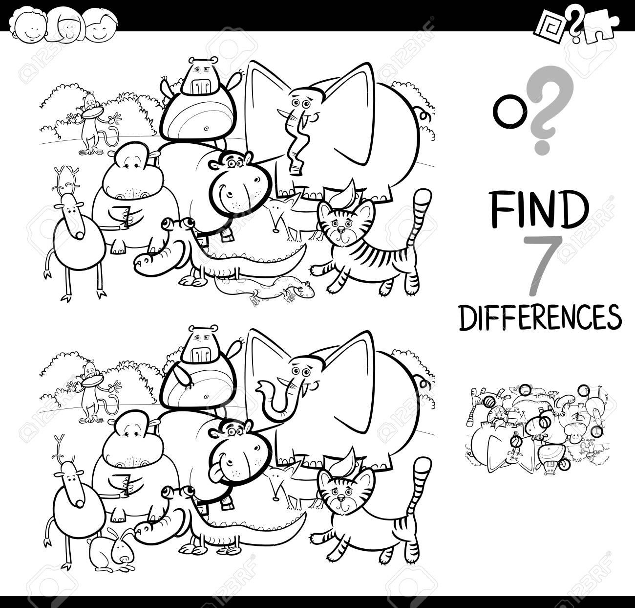 黒と白の漫画イラストの塗り絵動物文字グループに子供用の教育活動ゲーム