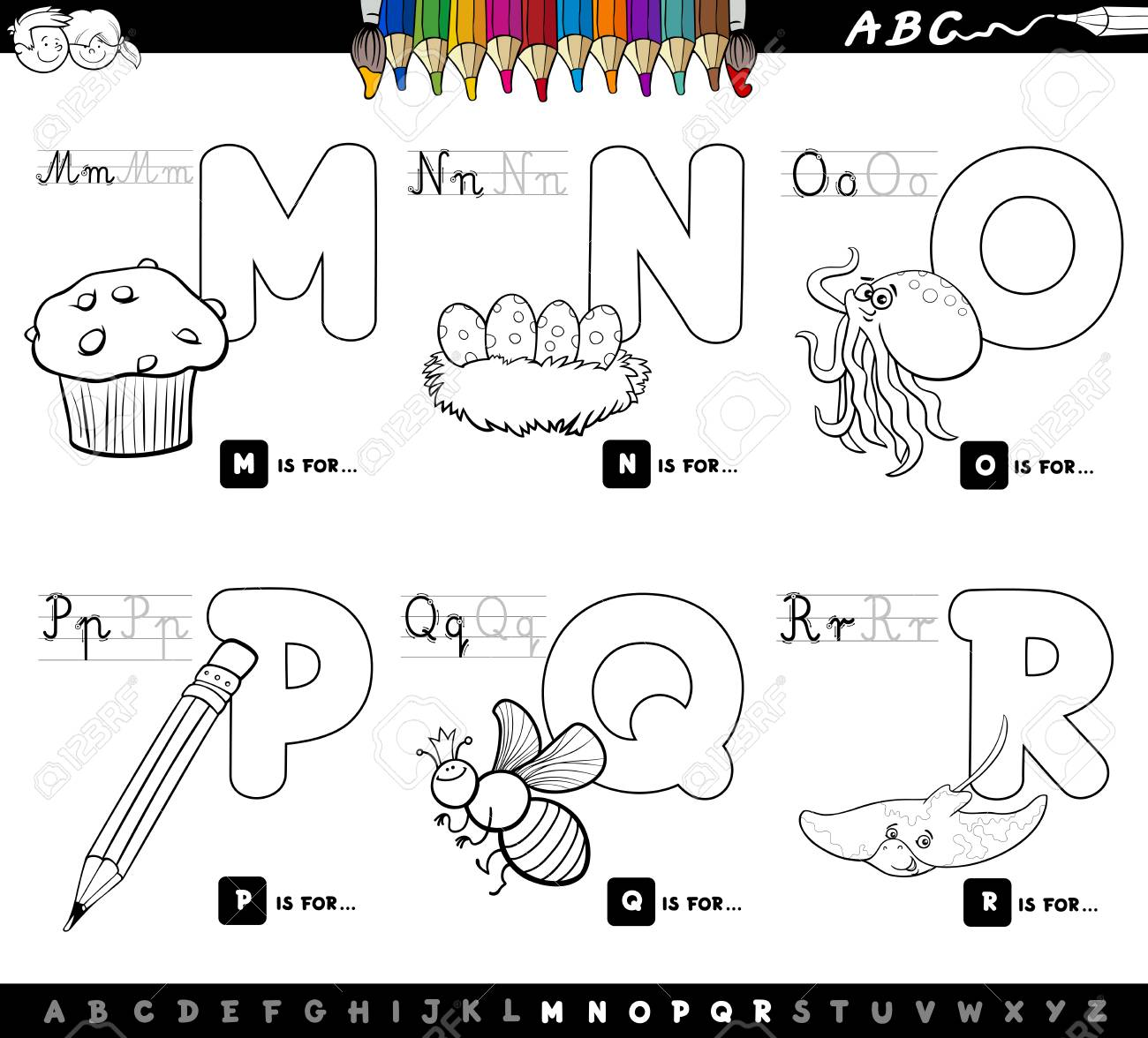 Black And White Cartoon Illustration Of Capital Letters Alphabet Educational Set For Reading Writing Learning
