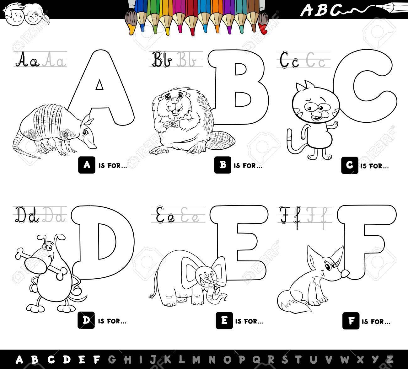 Ilustración De Dibujos Animados En Blanco Y Negro Del Alfabeto De Letras Mayúsculas Con Personajes Animales Para Leer Y Escribir Educación Para