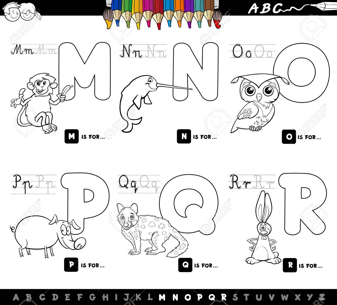 Ilustración De Dibujos Animados En Blanco Y Negro Del Alfabeto De ...