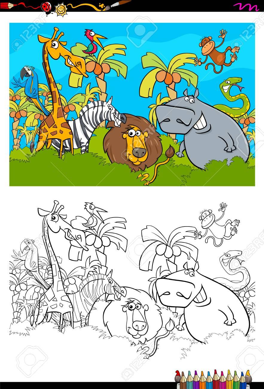Cartoon Illustration Of Safari Animals In The Wild Coloring Book ...