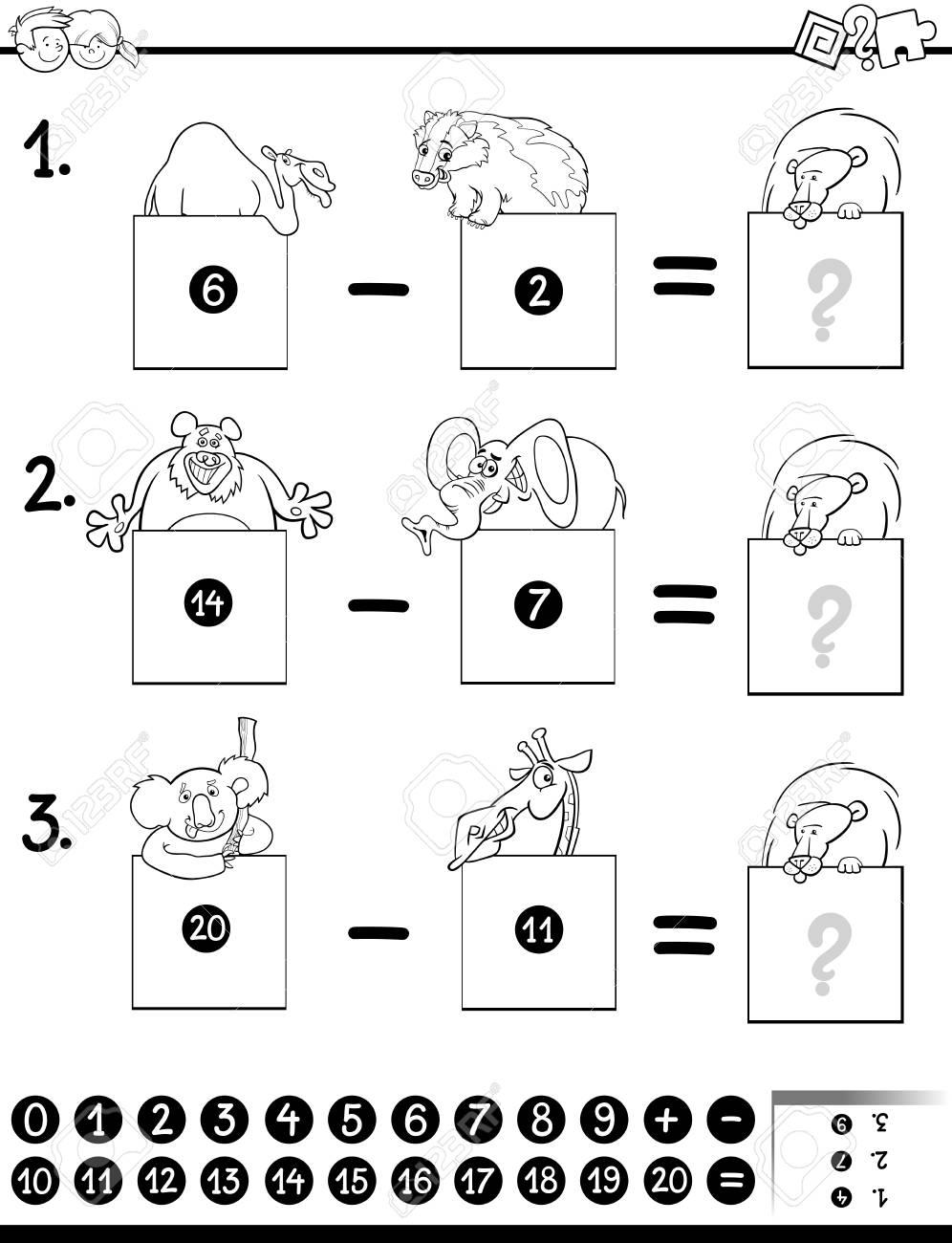 Ilustracion De Dibujos Animados En Blanco Y Negro De La Resta