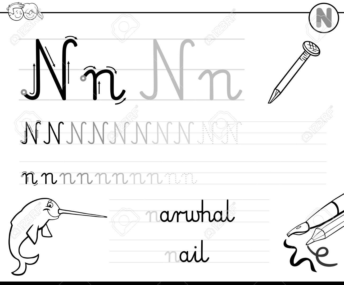 Ilustración De Dibujos Animados En Blanco Y Negro De Práctica De Habilidades De Escritura Con La Hoja De Trabajo De Letra N Para Niños De Edad