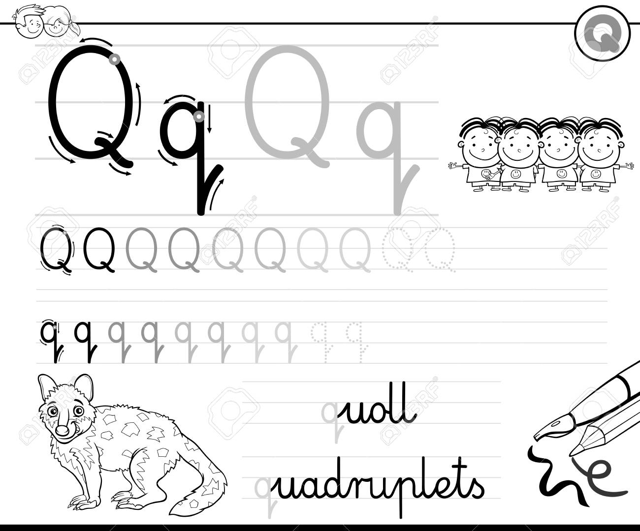 Black And White Cartoon Illustration Of Writing Skills Practice