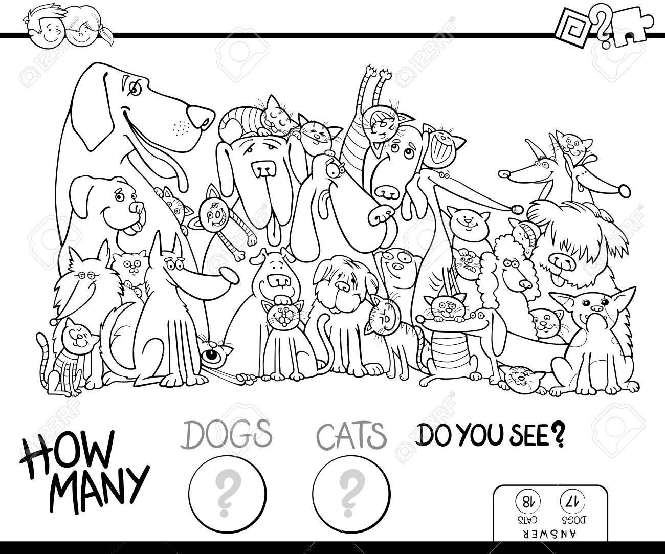 犬や猫の動物キャラクターの塗り絵を子供のカウントの教育ゲームの黒と白