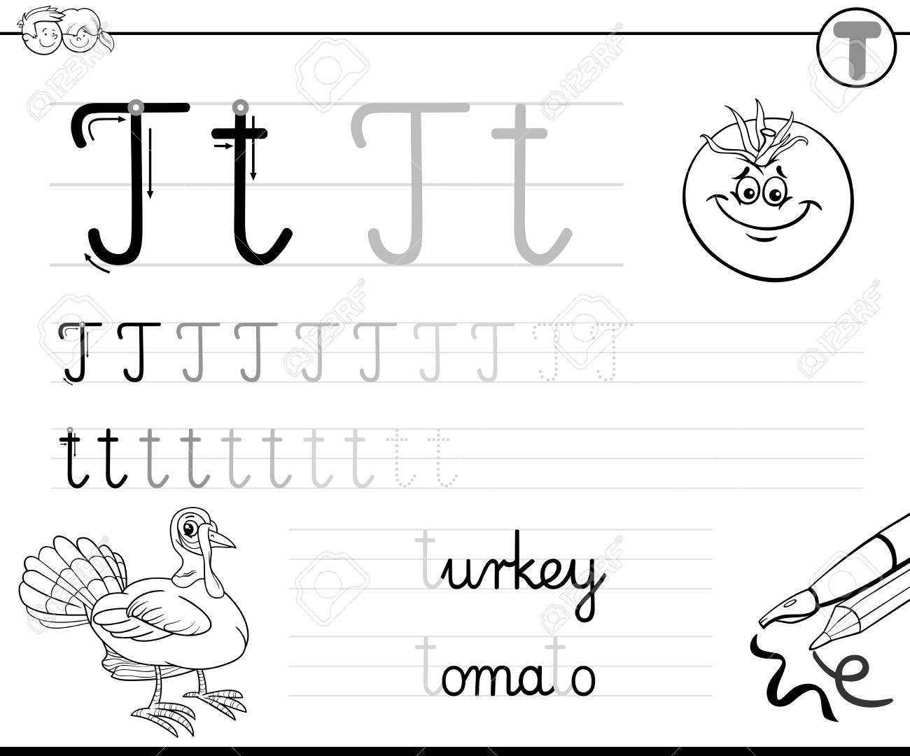 Ilustración De Dibujos Animados En Blanco Y Negro De Práctica De Habilidades De Escritura Con Letra T Hoja De Trabajo Para Niños En Edad Preescolar Y
