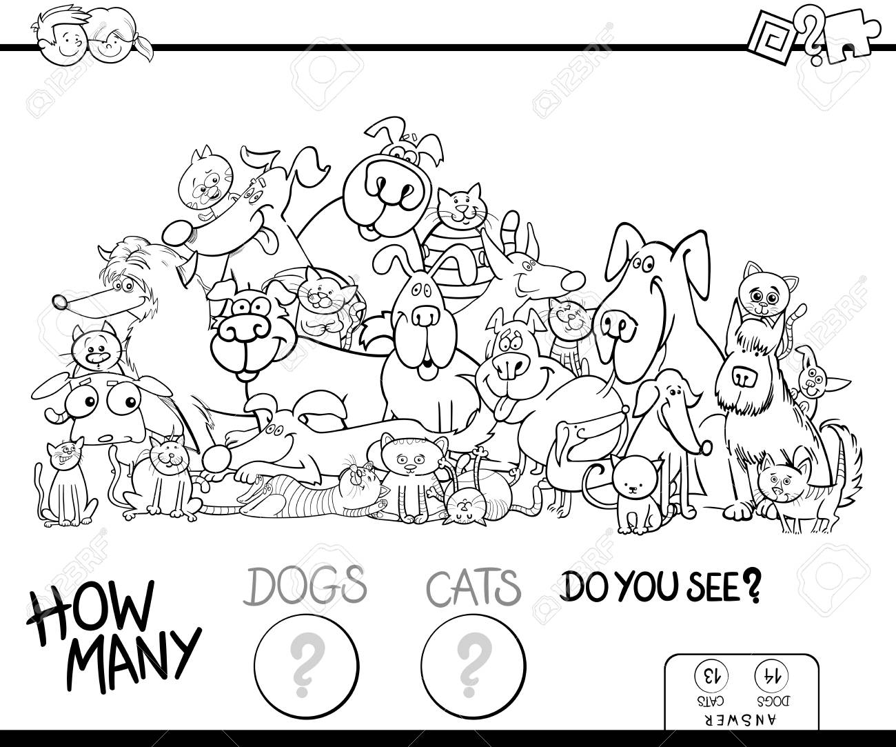 Black And White Cartoon Illustration Of Educational Counting Game For Children With Cats Dogs Animal