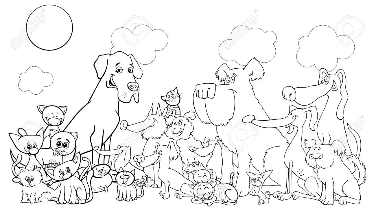 Ilustración De Dibujos Animados En Blanco Y Negro De Perros Y Gatos Grupo De Personajes De Cómic Animal Libro Para Colorear Ilustración Vectorial