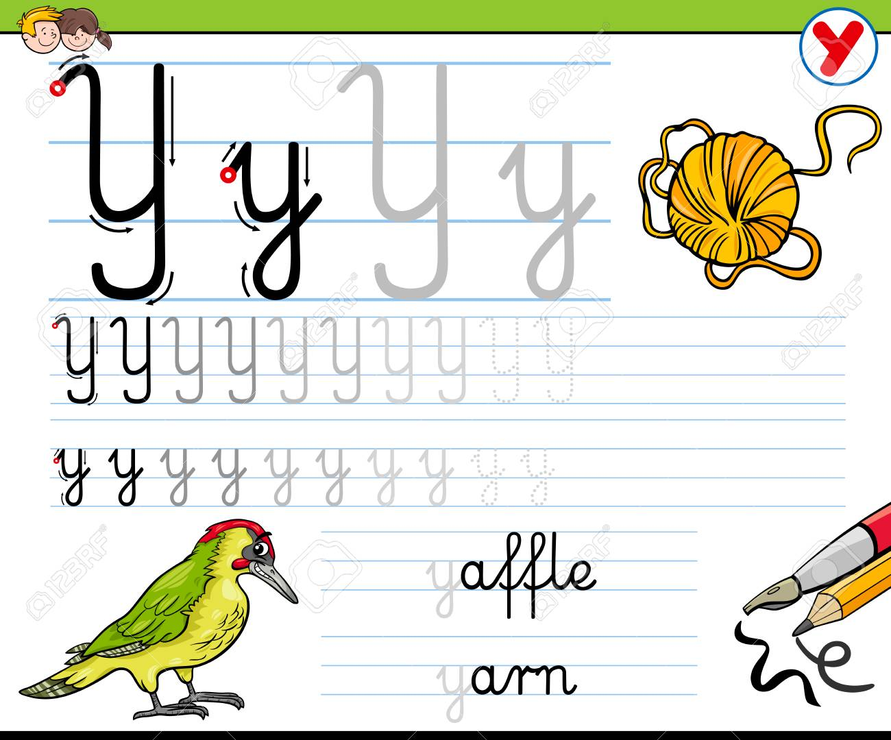 Cartoon Illustration Of Writing Skills Practice With Letter Y
