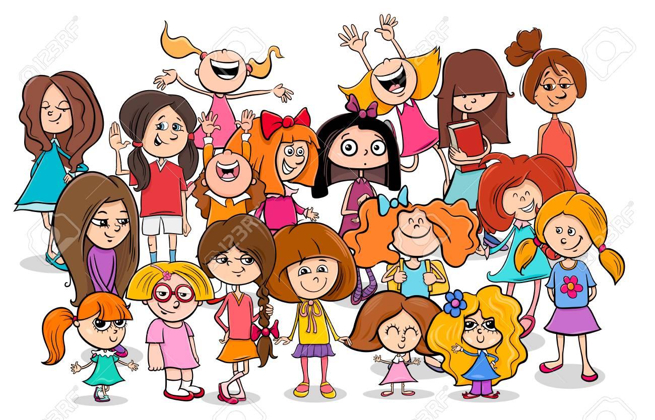 Ilustración De Dibujos Animados De Niños En Edad Escolar Primaria