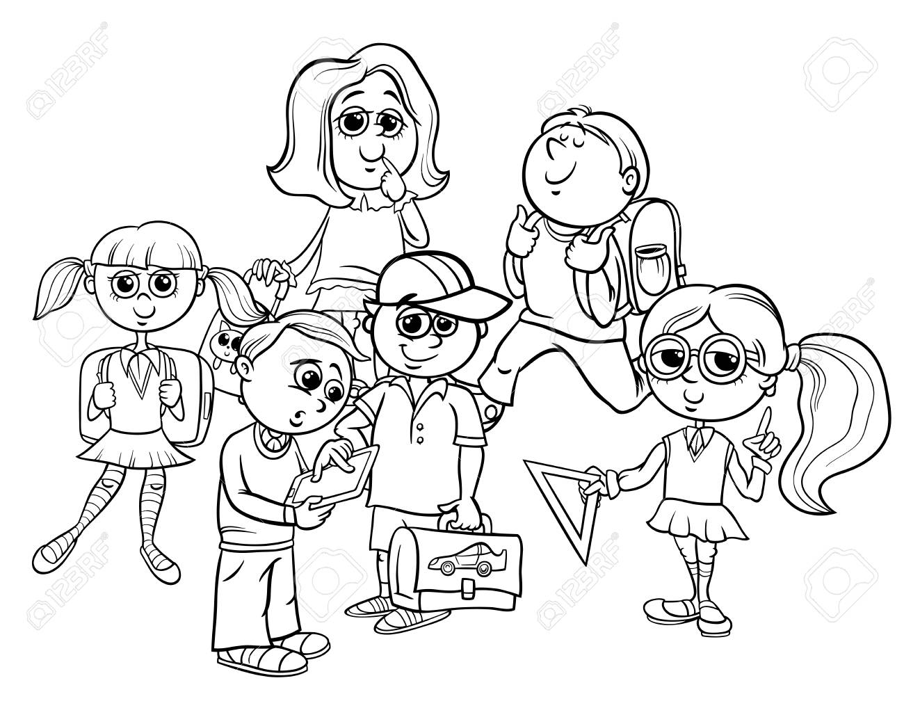 black and white cartoon illustration of elementary school students