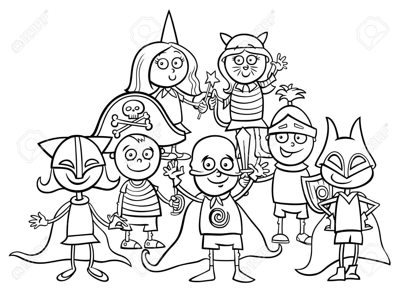 Ilustração Preto E Branco Dos Desenhos Animados De Caráteres Elementares Das Crianças Da Idade No Livro Para Colorir Da Bola Da Máscara
