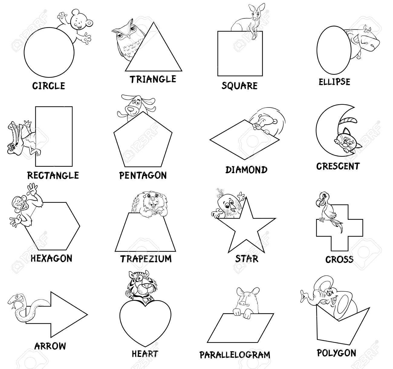Ilustración De Dibujos Animados Educativa De Formas Geométricas Básicas Con Los Niños Y Los Animales Caracteres Para Niños