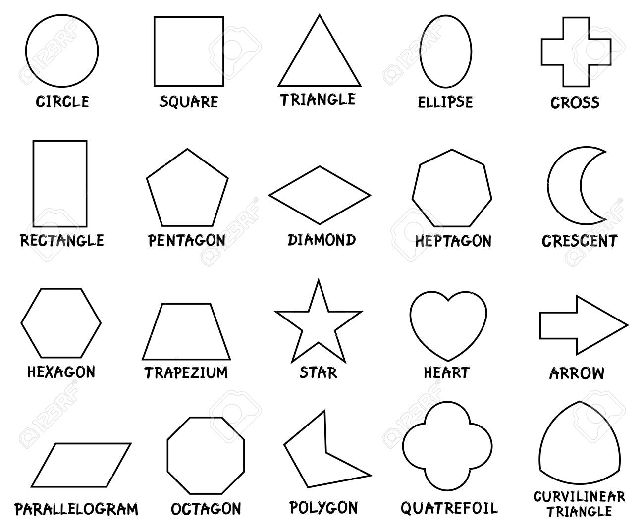 b529e1f0797 Black and White Cartoon Illustration of Educational Basic Geometric Shapes  with Captions for Preschool or Elementary