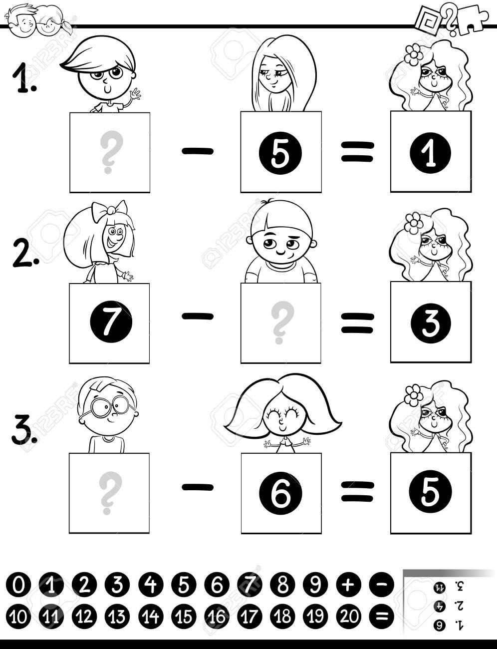 Dibujos Animados En Blanco Y Negro Ilustracion De Juego Educativo