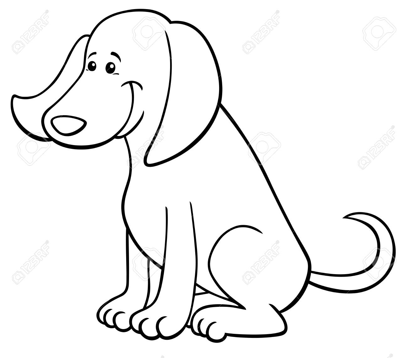 Black And White Cartoon Illustration Of Cute Happy Dog Animal Royalty Free Cliparts Vectors And Stock Illustration Image 94527691