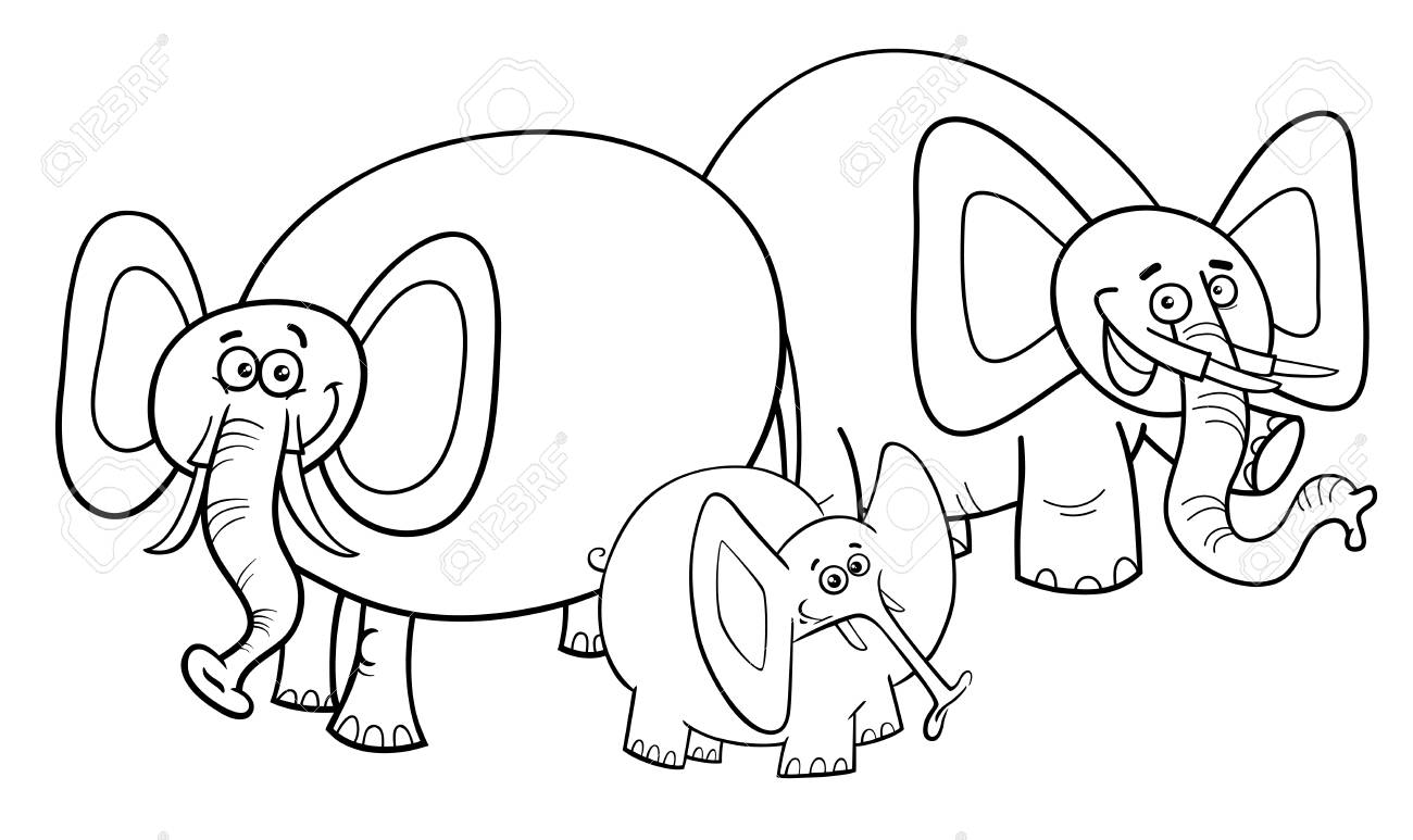 Black And White Cartoon Illustration Of Cute Funny Elephants Royalty Free Cliparts Vectors And Stock Illustration Image 95333394