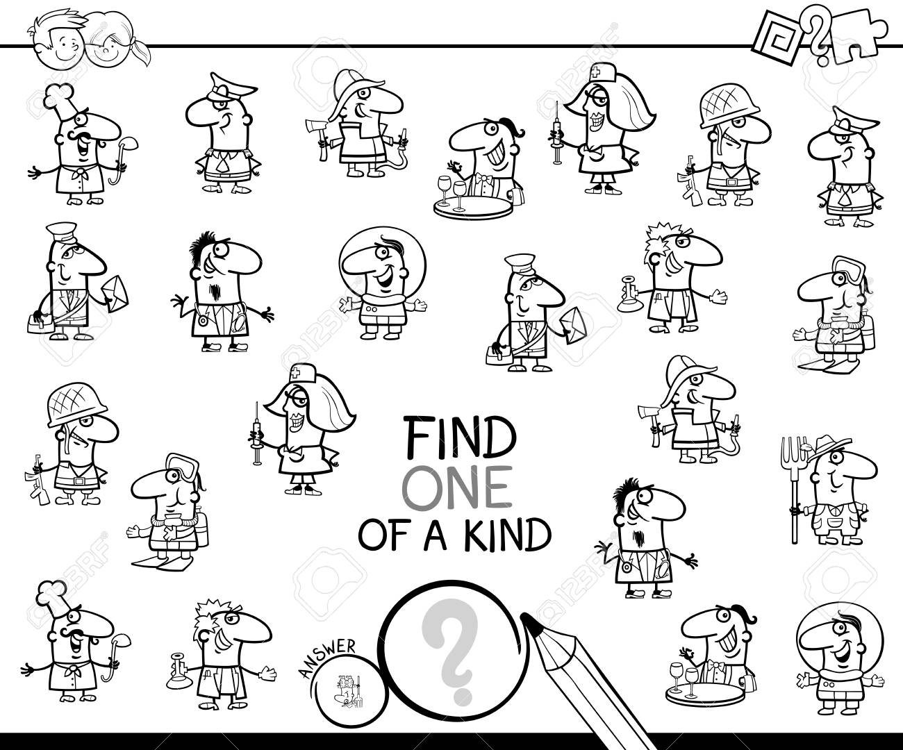Black And White Cartoon Illustration Of Find One Of A Kind Picture