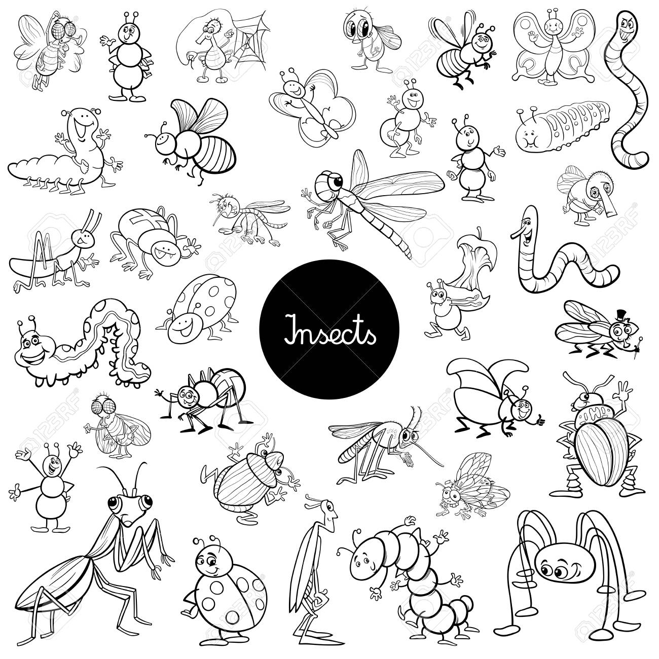Black and White Cartoon Illustration of Insects Animal Characters..