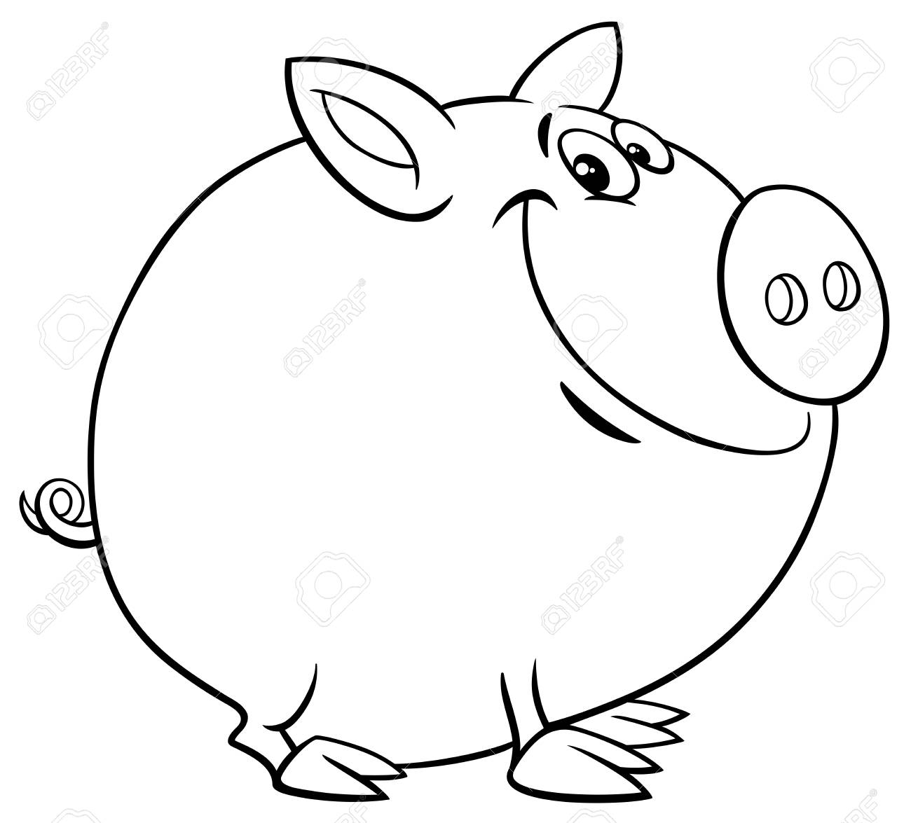 Black And White Cartoon Illustration Of Funny Pig Farm Animal Royalty Free Cliparts Vectors And Stock Illustration Image 103587726