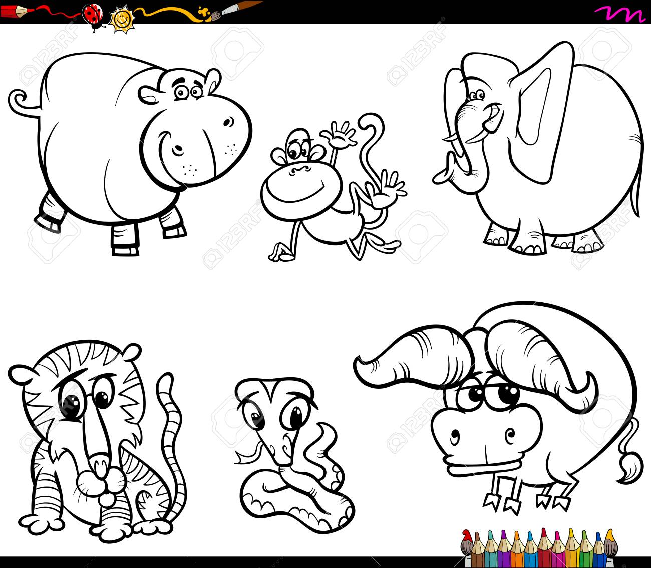 Black and White Coloring Book Cartoon Illustration of Animal Characters Collection - 121825888
