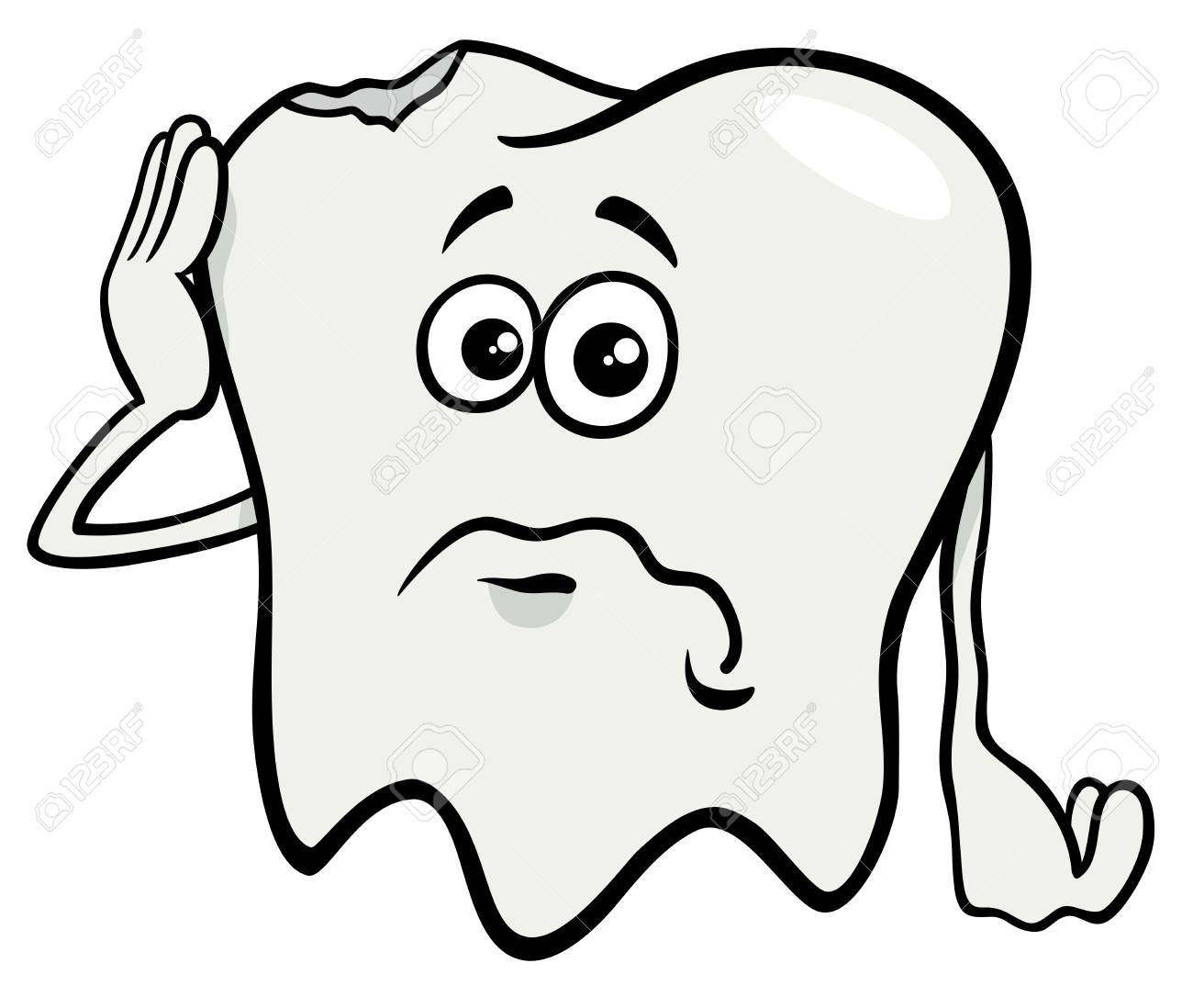 Cartoon Illustration Of Sad Tooth Character With Cavity Royalty Free