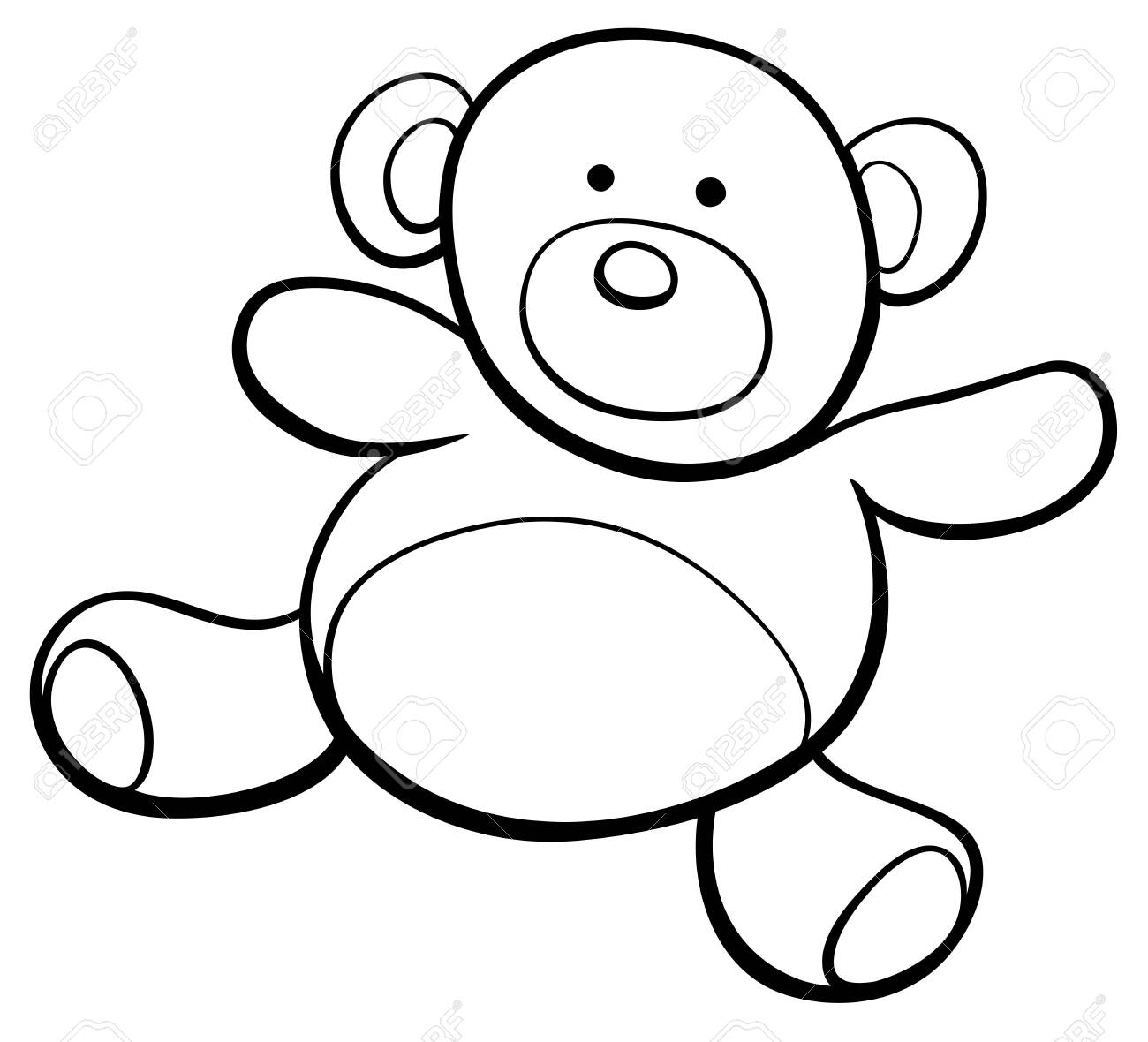 Black and White Cartoon Illustration of Teddy Bear Toy Clip Art Coloring Book - 121822541