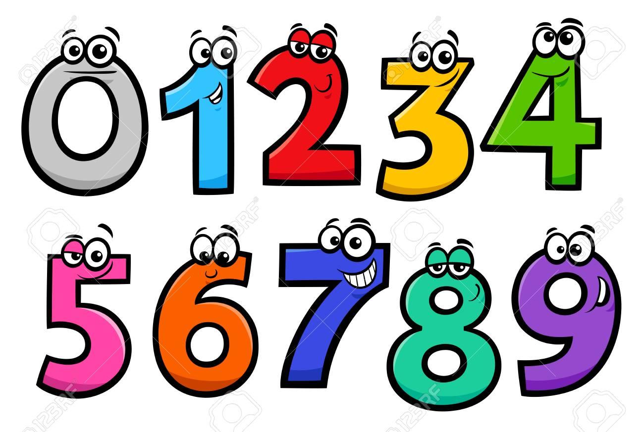 Educational Cartoon Illustrations of Basic Numbers Characters Set - 115007191