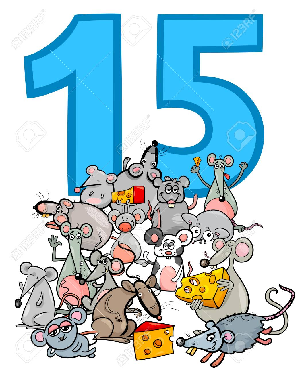 cartoon illustration of number fifteen and mice characters group