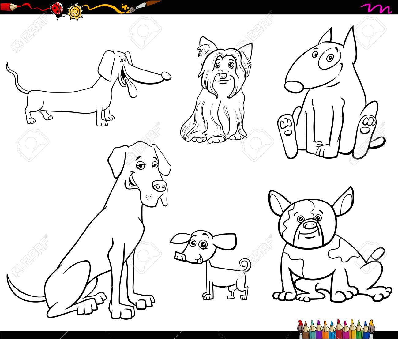 Black And White Cartoon Illustration Of Purebred Dogs Animal ...
