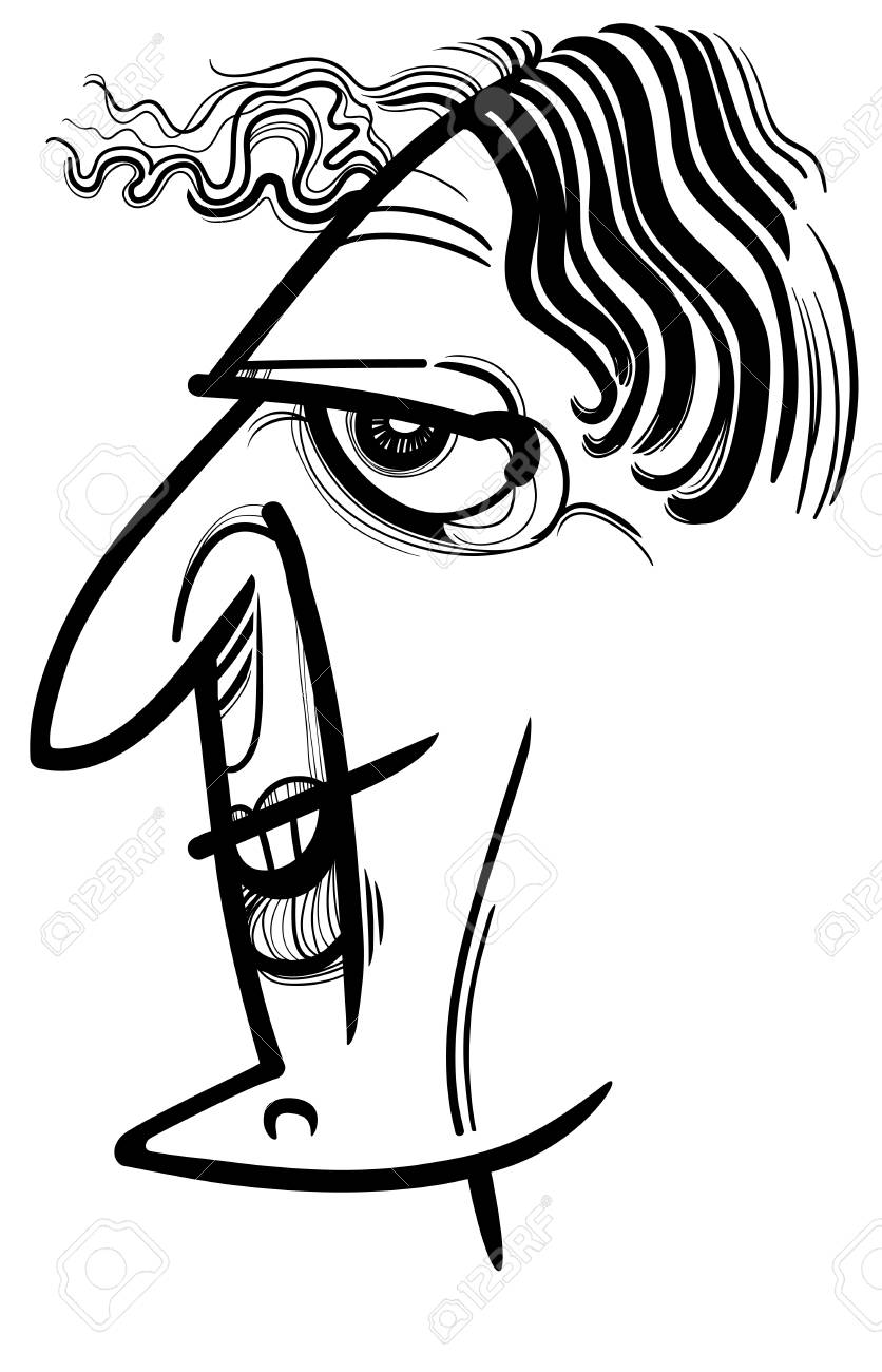 Black And White Sketch Cartoon Caricature Illustration Of Woman Royalty Free Cliparts Vectors And Stock Illustration Image 126582340