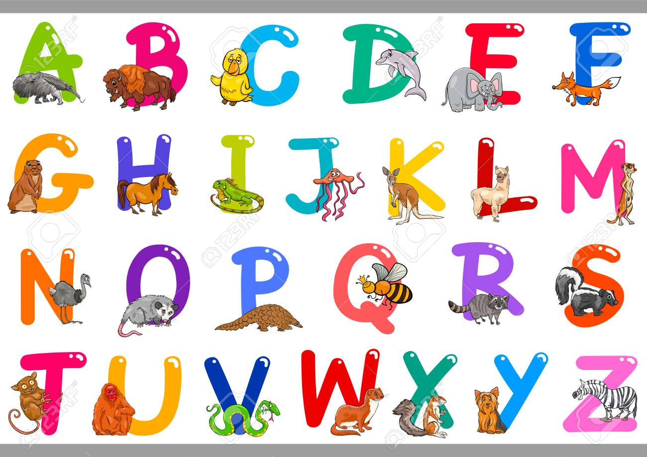 Cartoon Illustration of Colorful Alphabet Letters Set from A to Z with Happy Animal Characters - 126548149