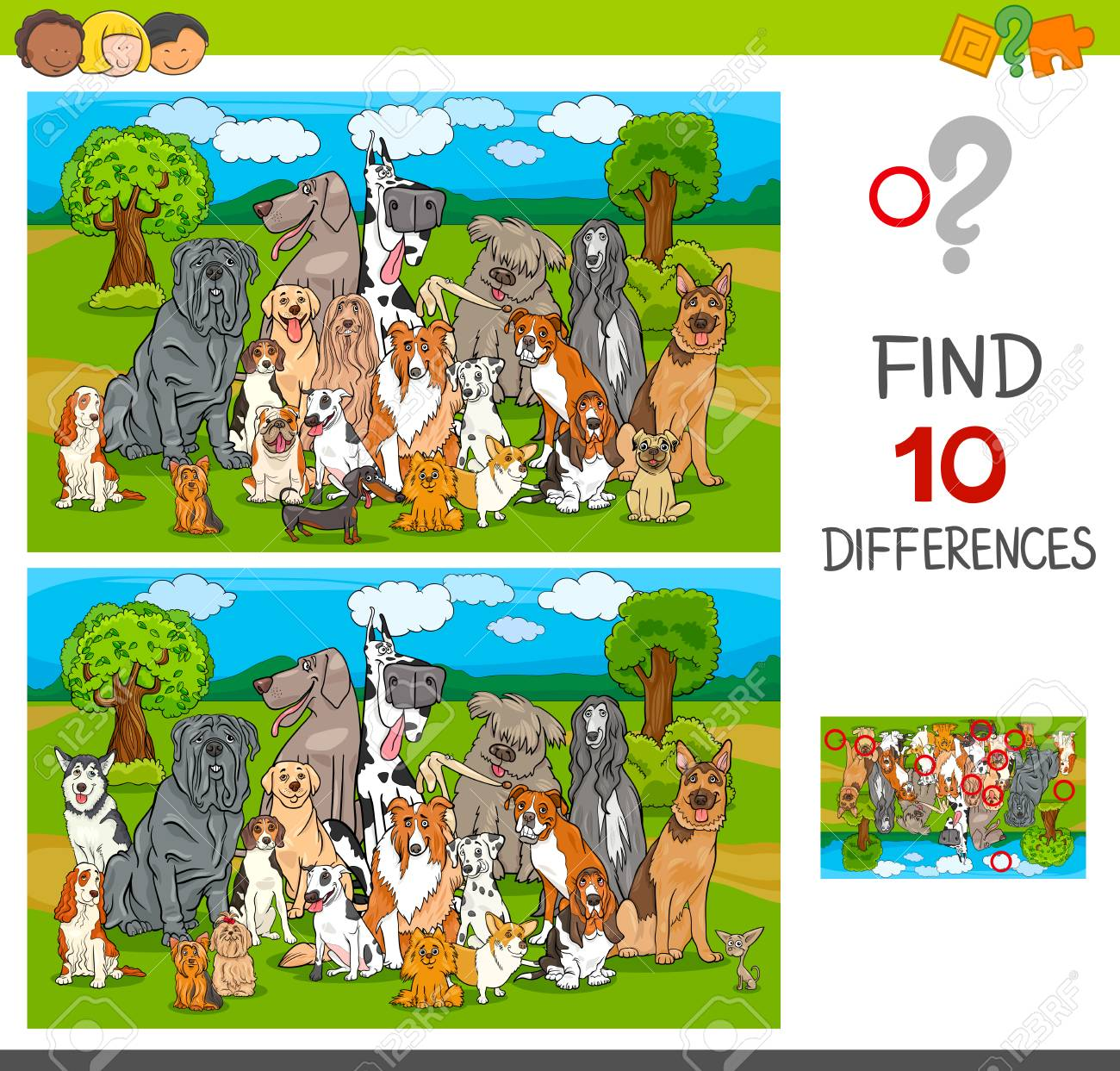 Cartoon Illustration of Finding Ten Differences Between Pictures Educational Game for Children with Purebred Dogs Animal Characters - 118035937