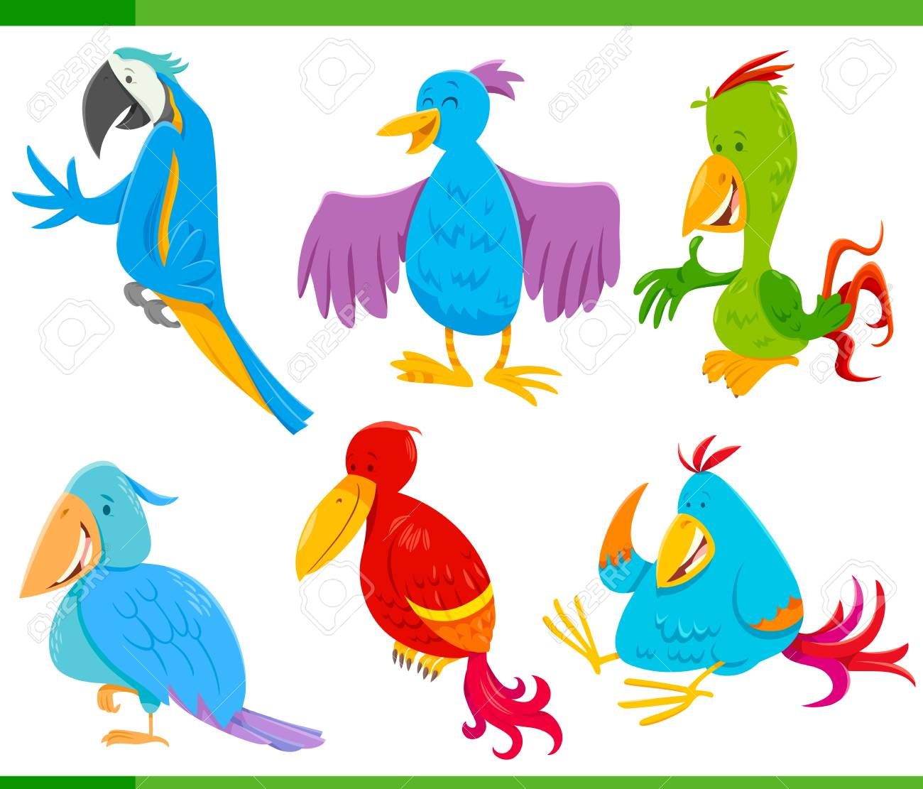 Song Bird Illustrations - 8 Hand Drawn Colorful Birds Clipart by VizualStorm