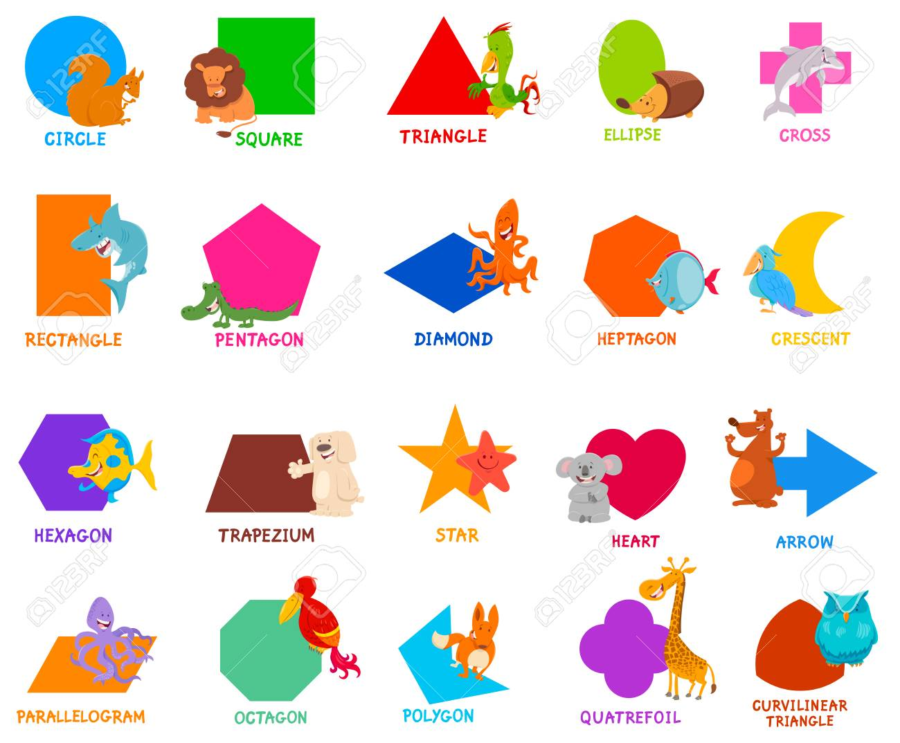 Cartoon Illustration of Educational Basic Geometric Shapes for Preschool or Elementary School Children with Cute Animal Characters - 120202293