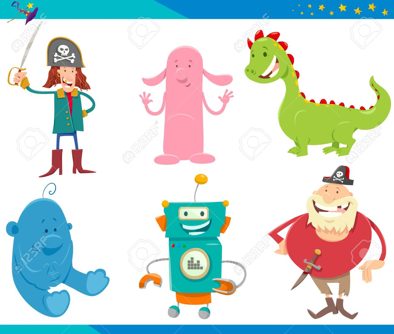 Cartoon Illustrations of Funny Fantasy or Fairy Tale Characters Set - 124349056