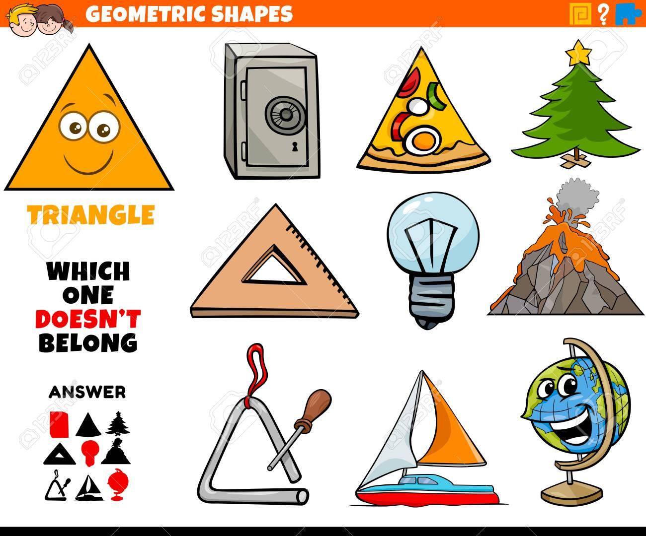 Cartoon Illustration of Triangle Geometric Shape Educational Task for Children - 134175500