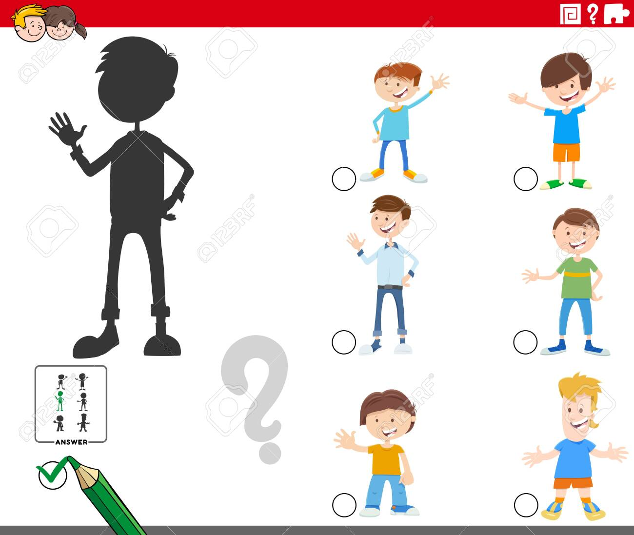 Cartoon Illustration of Finding the Right Shadow Educational Game for Children with Kid Boys Characters - 143735974