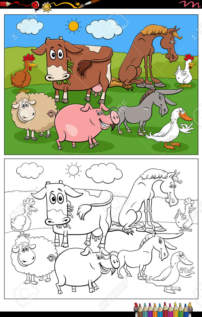 Cartoon illustration of funny farm animals characters group on the pasture coloring book page - 168429344