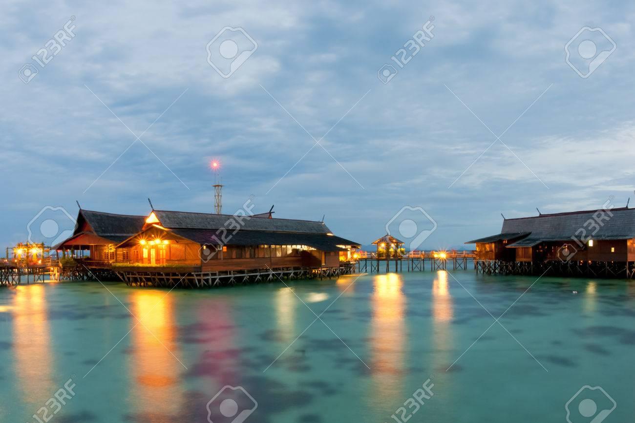 Kapalai Resort Night View Turquoise Tropical Polynesian Paradise