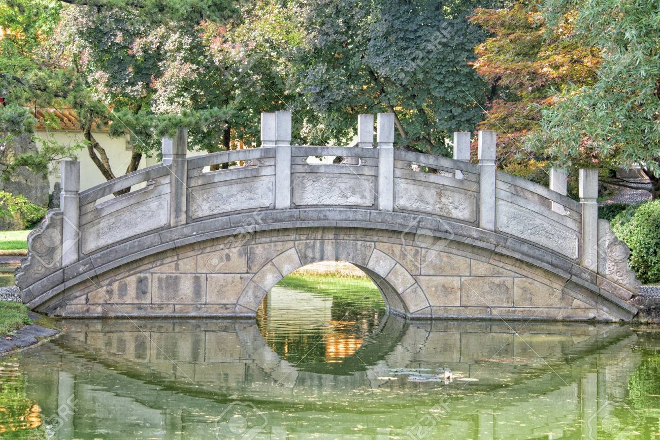 Chinesischer Garten Brücke Reflexion Blick Lizenzfreie Fotos Bilder