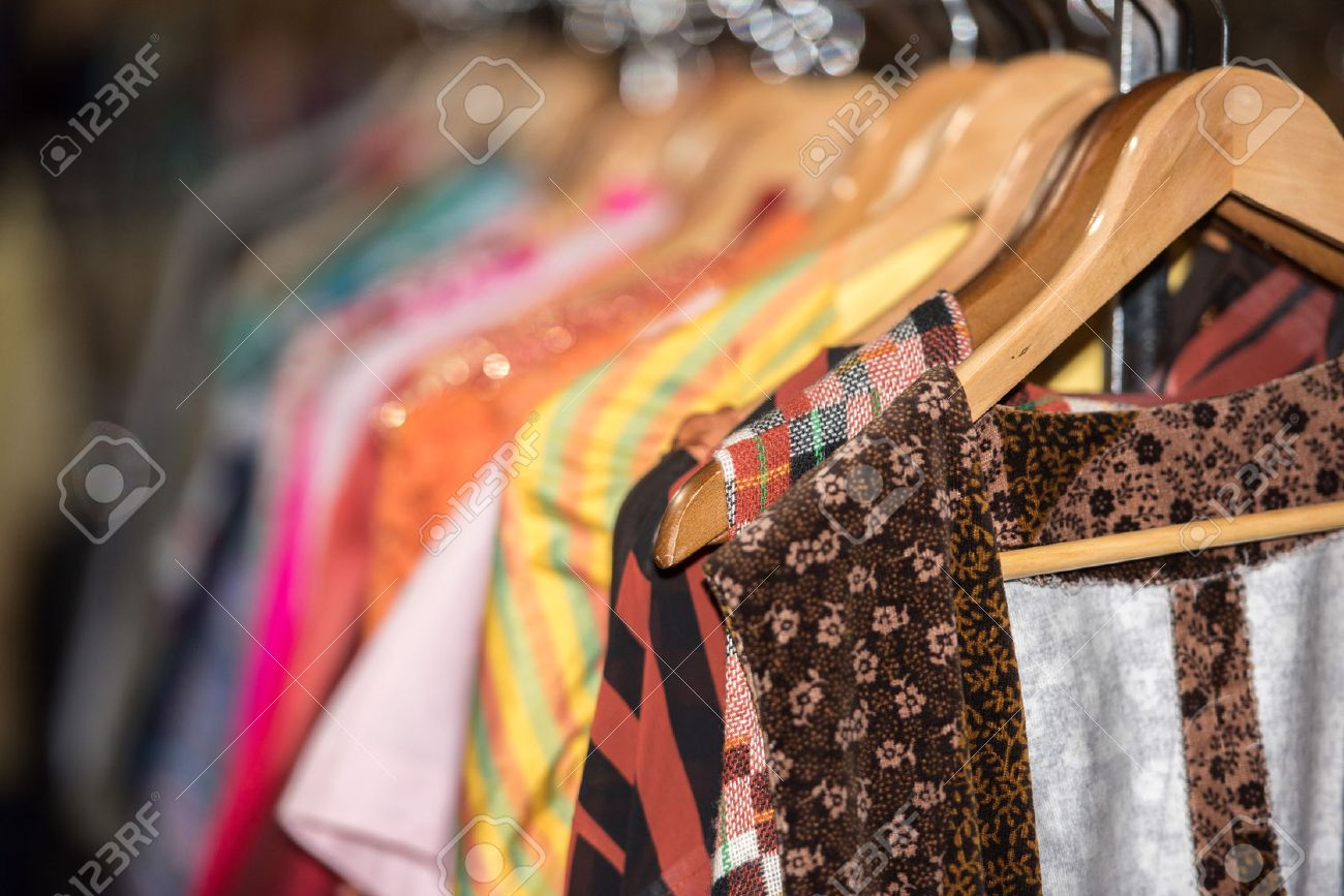 Detail Of Vintage Clothes For Sale Inside A Shop Stock Photo ...