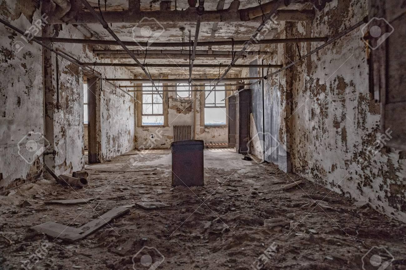 Ellis Island Abandoned Psychiatric Hospital Interior Rooms View Stock Photo