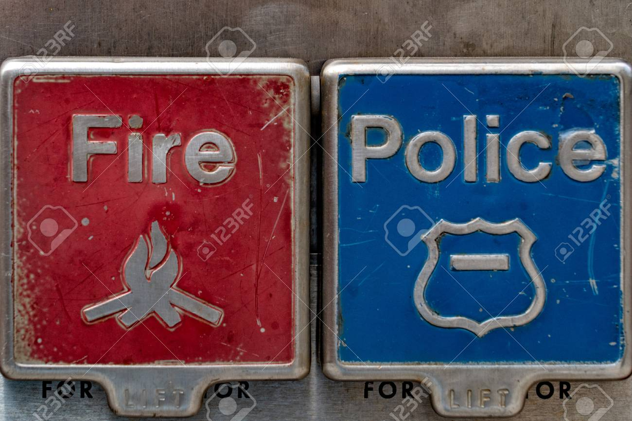 fire police red blue buttons detail emergency call in new york